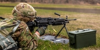 Soldier firing a M249 Squad Automatic Weapon