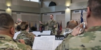 U.S. Army band conductor in the field