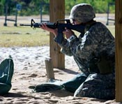 An ASU ROTC Cadet at the Ranger Challenge competition fall 2008.