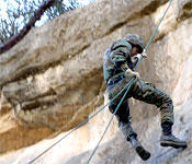 Rappelling off the big 60' cliff gives cadets the confidence to lead themselves as well as others.