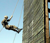 Auburn cadets learn rappelling at lab to build confidence in themselves and their peers.