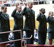 During the Spring graduation ceremony at Austin Peay, the University recognizes the graduating ROTC cadets taking their Oath of Office. The cadets are sworn in as new Lieutenants in front of the entire graduating class, faculty, and family members. The Governors Guard Battalion enjoys a particularly positive relationship with the University.