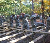 APSU's Ranger Challenge team races against the clock to complete an obstacle course.