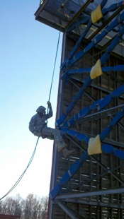 PERSONAL COURAGE. Cadets execute rappelling operations.