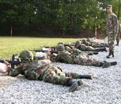 Blue Mountain Battalion cadets hone their marksmanship skills at Fort Indiantown Gap in the Fall of 2005.