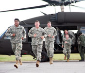 You will be exposed to the latest and most realistic military training while enrolled in ROTC. ECU Cadets preparing to board a UH-60 Blackhawk helicopter for the Fall Field Training Exercise.