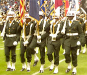 GSU ROTC Cadets march off the field after presenting colors during the opening ceremony of the Bayou Classic.