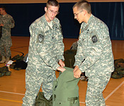 Packing for a field training exercise takes team work. That is what ROTC teaches you.