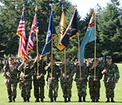 Cadet Color Guard participating in a military parade.