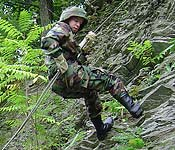 Cadets learn a variety of skills such as rappelling while participating in ROTC.