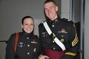 Cadets Gomez (right) and Smith (left) pause for a photo at the Marion Military Institute Army ROTC Dining-In in 2011.