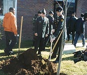 Cadre and cadets plant tree in memory of two Blue Raider alumni killed in the line of duty.