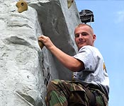 Cadets negotiate the rock wall9