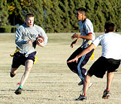 ROTC is more than just working hard. Its also about having fun, like our annual Turkey Bowl Football games against the Air Force ROTC.
