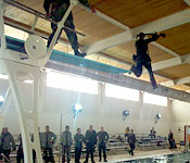 New recruits learn a variety of skills such as Combat Water Survival Training.
