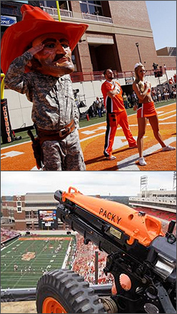 "OSU cadets participate in game day events that include the ""Push-Up"" Board as well as firing the Cowboy Battalion 75mm Pack Howitzer Cannon ""Packy"" every time OSU scores a touchdown."