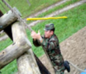Cadets perform many activities during the FTX each semester. One of these activities is the Confidence Course which helps build esprit de corps among the cadet platoons.