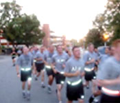 Boiler Battalion cadets during a morning run. PT is held three days a week for 50 minutes in the morning. Warm-up and stretching begins at 0600 and lasts until cool-down at 0650. Army PT focuses on cardiovascular endurance and upper body strength.