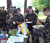 Cadets relax and enjoy the festivities at the Fall Tiger Battalion Picnic