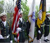 Tiger Battalion Color Guard serving at the spring Commissioning Ceremony