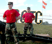 Cadets fire thunderous cannons at University events to excite the crowd.