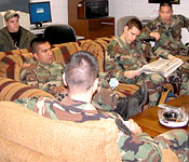 Cadets take a break from their classes in the relaxing Cadet lounge.