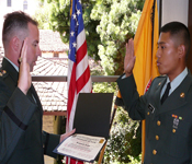 Cadet Kenneth Justo (SJSU '09) takes the Oath of Allegiance.