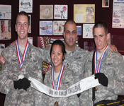 Bronco Battalion Cadets Kevin Schmidt (SCU '10), Ally Ha (Stanford '10), and Nick Richmond (SCU '10) took Second Place out of 133 schools in the prestigious Western Region Ranger Challenge Competition.