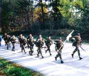 Ranger Challenge cadets run in full gear for the Ranger Challenge Competition. The cadets must complete a 5k run in the least amount of time to win this event. Shippensburg Ranger Challenge Cadets did an excellent job on this event due to their hard training and preparation at Shippensburg. In addition to their 5 day a week PT schedule and 5 night a week training, they ran in the Annual Shippensburg University Army ROTC 10k Run to aid their training for this event.