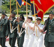 Southern University and A&M College Army ROTC Cadets and Navy Midshipman serve as the Color Guard during a Baton Rouge Armed Serves Day Celebration