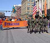 Army ROTC Color Guard leads the Syracuse Saint Patrick's Day Parade