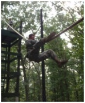 Each FTX, Cadets are challenged mentally and physically in numerous events. During the Confidence Course, a Cadet navigates a high-tower rope bridge suspended over a cargo net. Obstacles during this event challenge Cadets to face their fears and dear with situations outside their realm of comfort. This training advances their decision making skills while advancing their physical fitness.