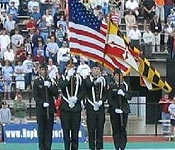 CDTs Reyes, Shuck, Henderson, and Farrar present the Colors at Hopkins Homecoming game.