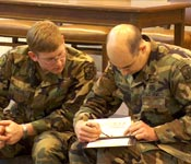 MSG Eversmann briefs an Operations Order to CDT Nordahl during the spring FTX.