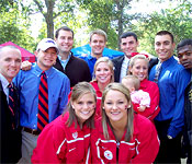 On home game weekends, ROTC students attend tailgate parties in the Grove with 90,000 other Rebel fans.
