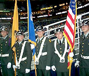 The USM Golden Eagle Battalion Color Guard presented the colors at a New Orleans Hornets basketball game. Afterwards they along with the cadre sat back and enjoyed the game.