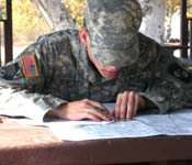 New recruits learn a variety of skills such as Land Navigation.