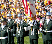 The Color Guard team practice and present the Colors for a variety of events including home football games, the homecoming parade, and numerous community and university events.
