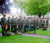 The Webfoot Warrior Battalion completes one of many springtime ruck marches.
