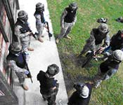 Cadets get ready to perform Paintball Military Operations in Urban Terrain (MOUT) Training during a Leadership Lab.