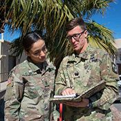 The Military Science program at UTEP uses constructive educational principles to educate cadets on leadership using an internship type of program. In this picture the Cadet Commander and Sergeant Major discuss the training events planned for that day. In ROTC the senior cadets mentored by the faculty assist in preparing and executing the weekly leadership and physical education programs.