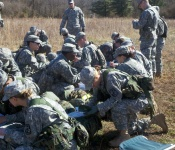 Cadets from the Yellow Jacket Battalion plot their points before beginning Day and Night Land Navigation during the Spring 2012 Field Training Exercise at McClintic Wildlife Management Area in Point Pleasant, WV