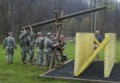 Cadets perform a variety of team building and problem solving events throughout the Spring Field Training Exercise at Camp Dawson, WV. MSG Shank evaluates Cadets as they rotate leadership positions while exercising tactics, techniques and procedures that will help them to succeed during the 30 day event in Fort Lewis Washington, known as Operation Warrior Forge.