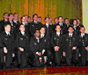 The members of the class of 2003 proudly pose after receiving their 2nd Lieutenant gold bars.