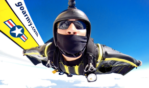 Golden Knights team member makes a wingsuit jump