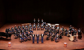 Group photo of Army Music orchestra members