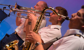 The brass section of an Army specialized band.