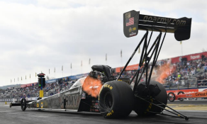U.S. Army Racing NHRA driver Tony Schumacher prepares to race in his top fuel dragster