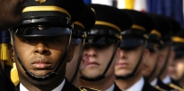 Close up of Soldiers in Dress Blue uniforms